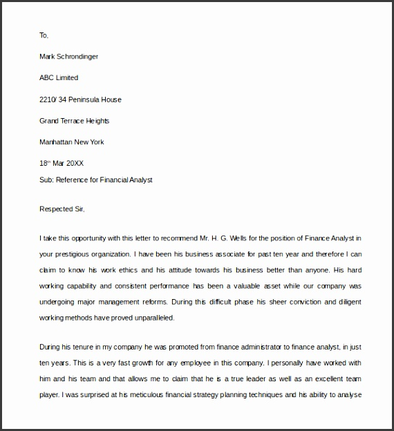 Business Financial Reference Letter
