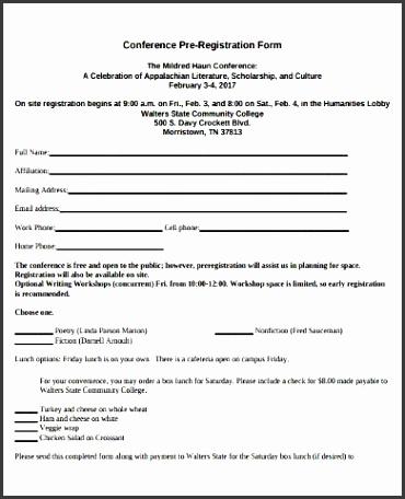 conference pre registration form
