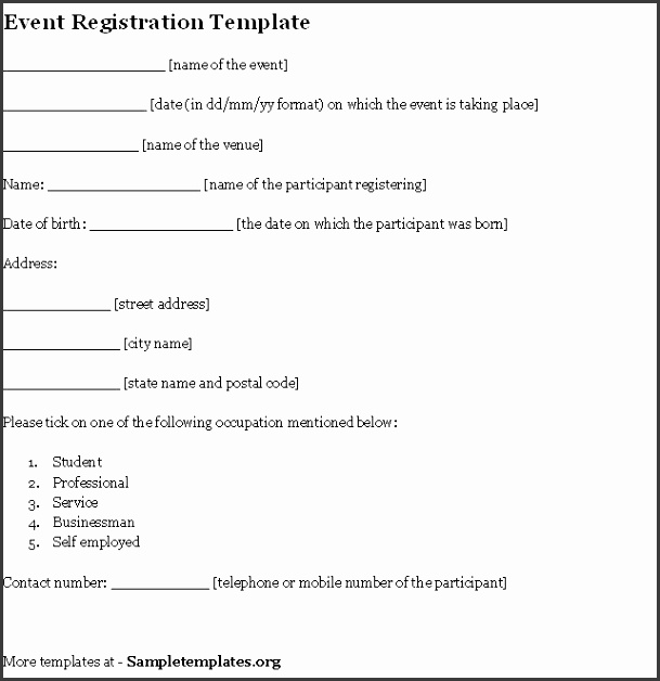 Remarkable Registration Form Template Word And Sports