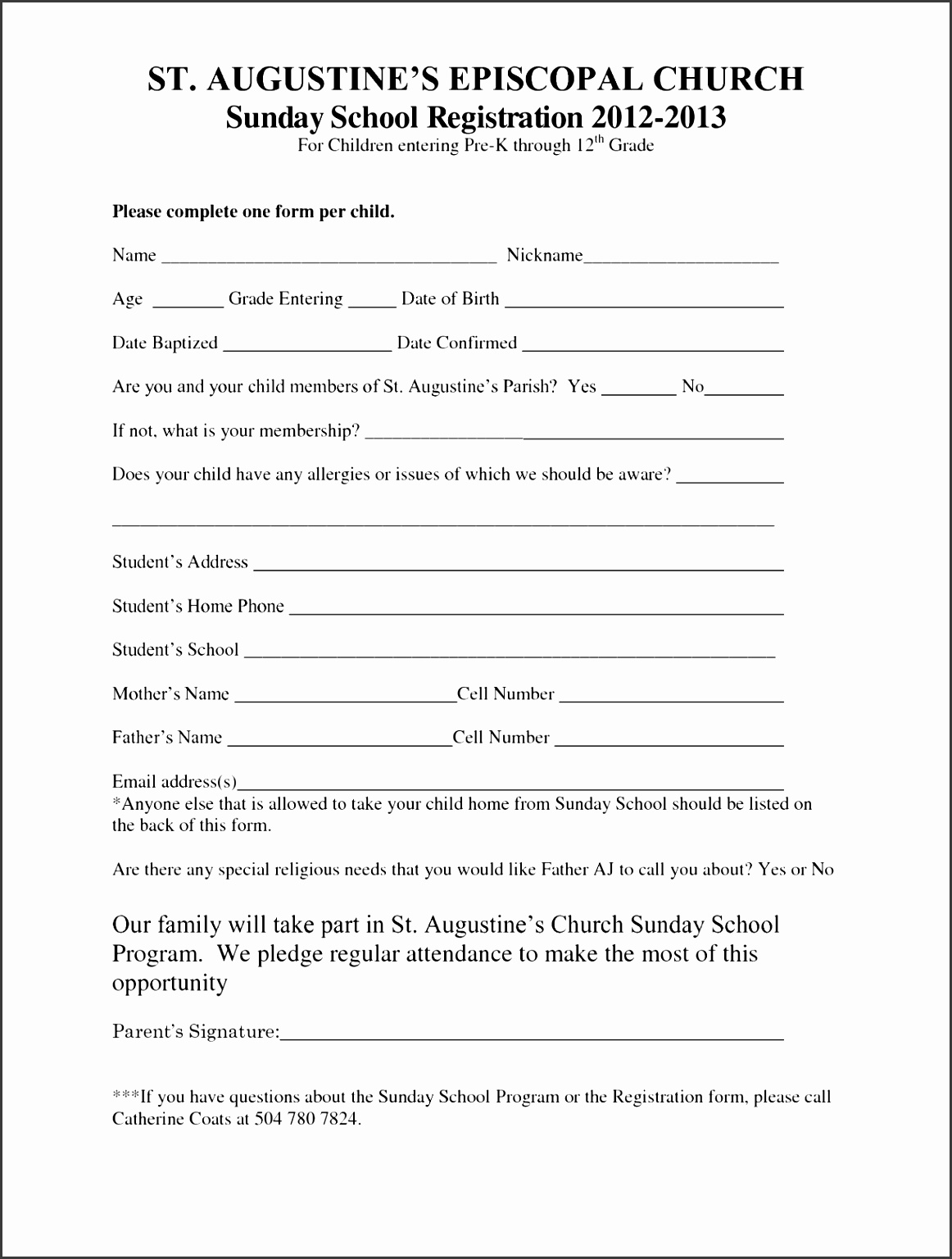 Sunday School Registration form Template to Pin Printable Sunday School Registration form Template Inspirational Doc Xls
