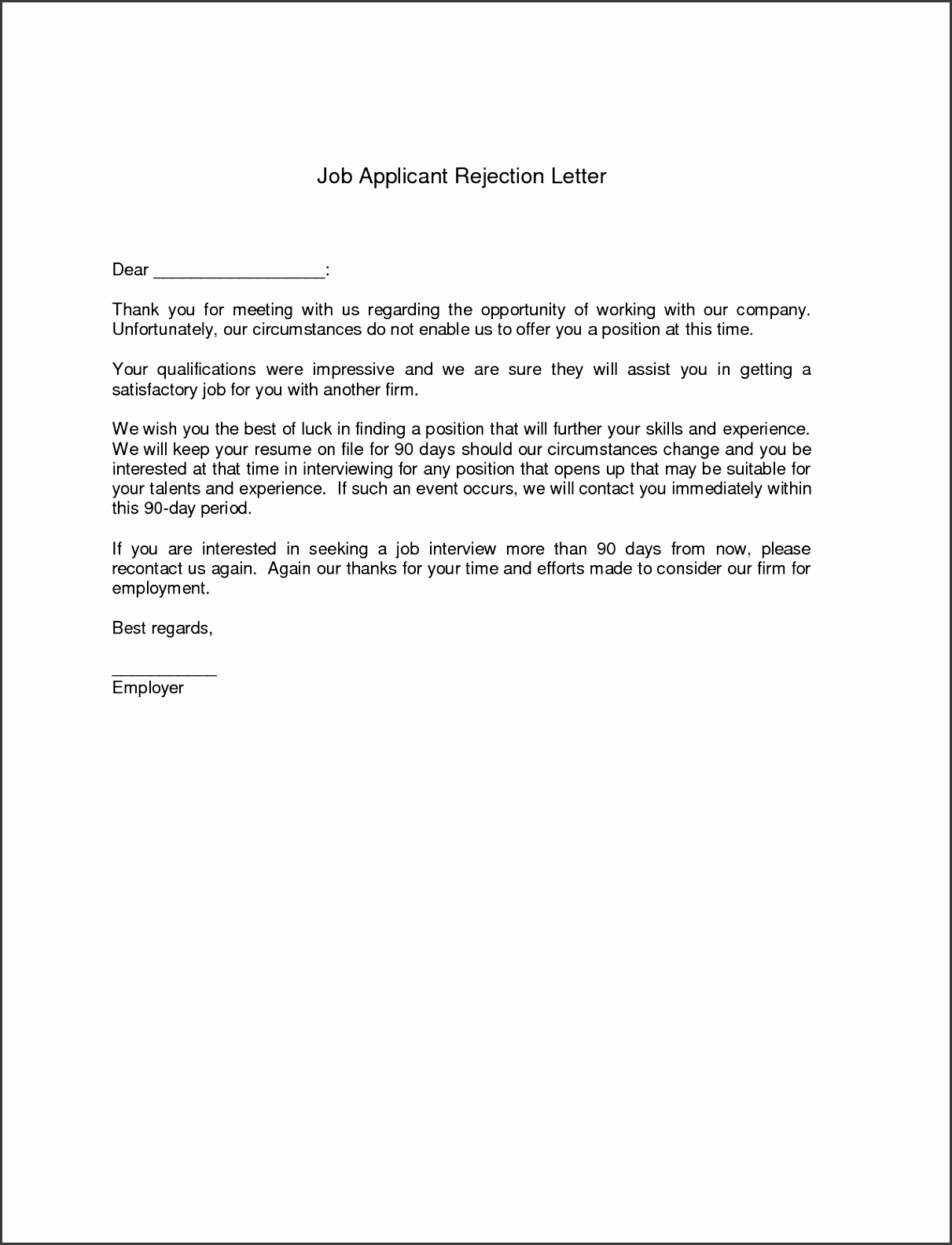 Amusing Resume Rejection Letter Template In Interview Rejection Letter Sample after Written Test Sample