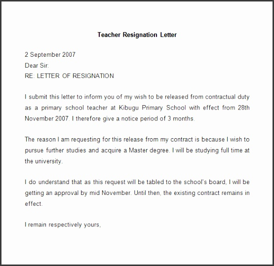 Resignation letter template 25 free word pdf documents free for Letter of resignation sample teacher Teacher resignation letter example