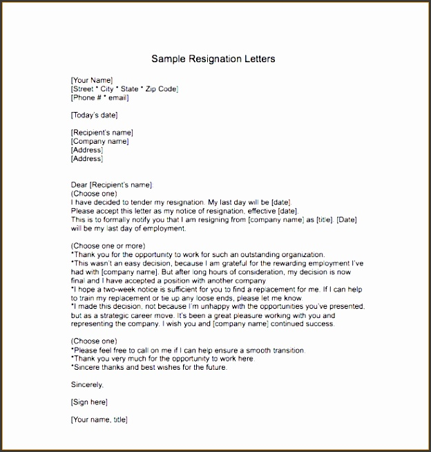 Gallery of 10 Resignation Letter Template Free