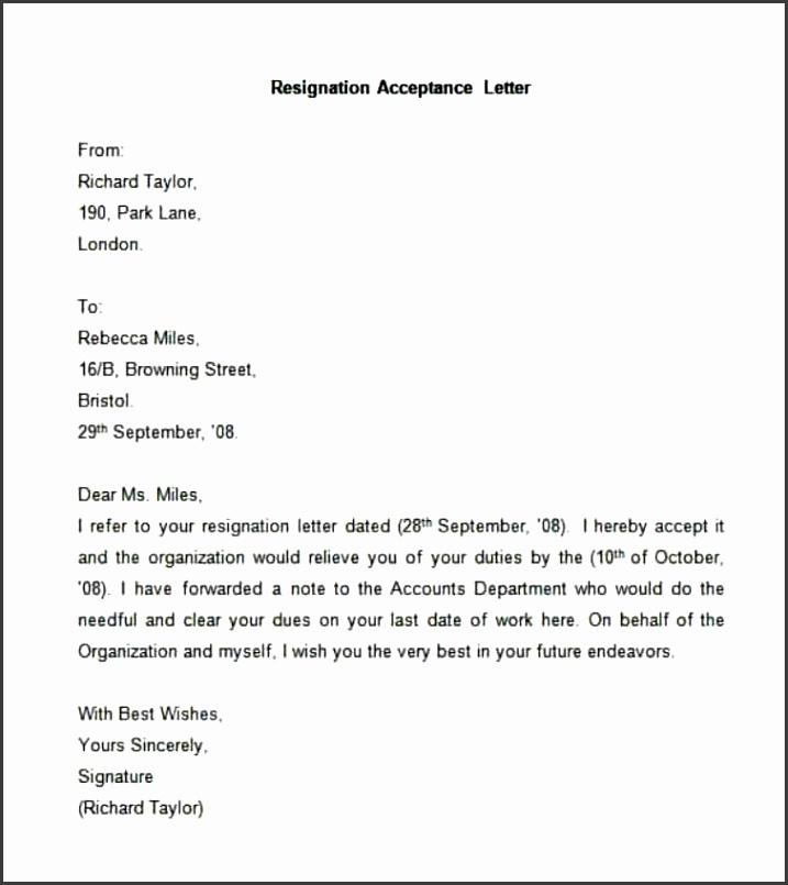 Simple Resignation Acceptance Letter format Pdf Letters Resignation