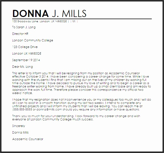 Career Change Resignation Letter Sample
