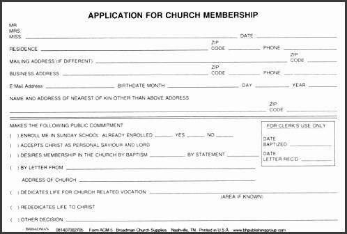 Church Member Application Template