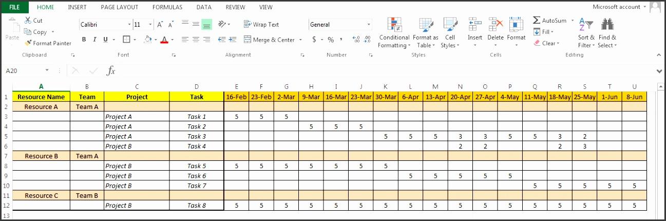 Excel Resource Plan