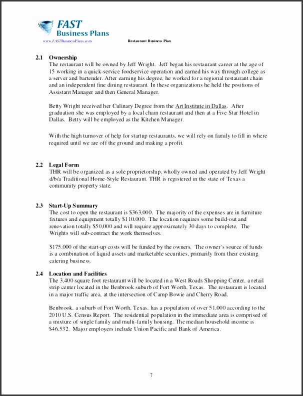 7 2 1 Restaurant Business Plan