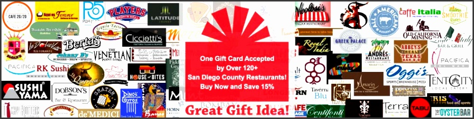 Gift Cards San Diego Restaurants Discount Gift Card Certificates for Restaurants in San Diego CA