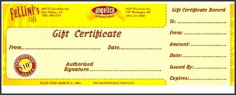 Restaurant Gift Certificates Custom Gift Cards