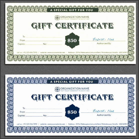 Restaurant Gift Certificate shop Format Template Download