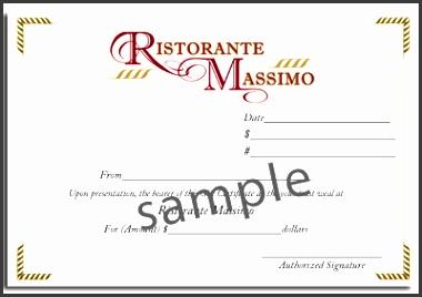 Ristorante Massimo Gift Certificate sample