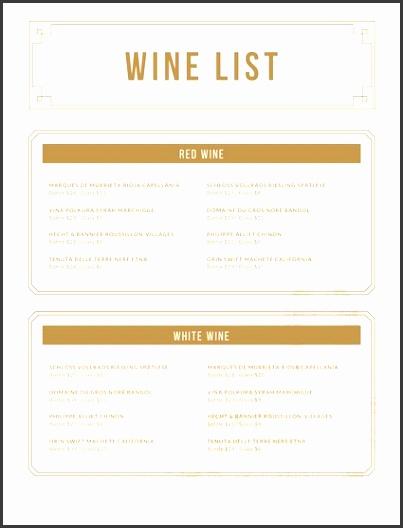 White and Gold Wine Menu
