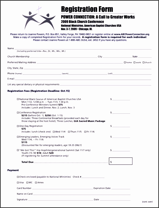 Church Conference Registration Form Template