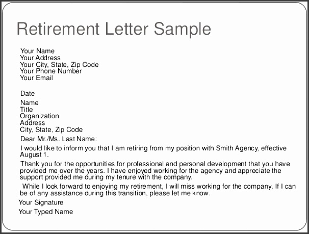 Sample Retirement Letter Template