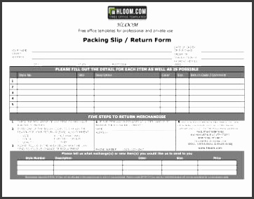 Packing Slip with Return Form