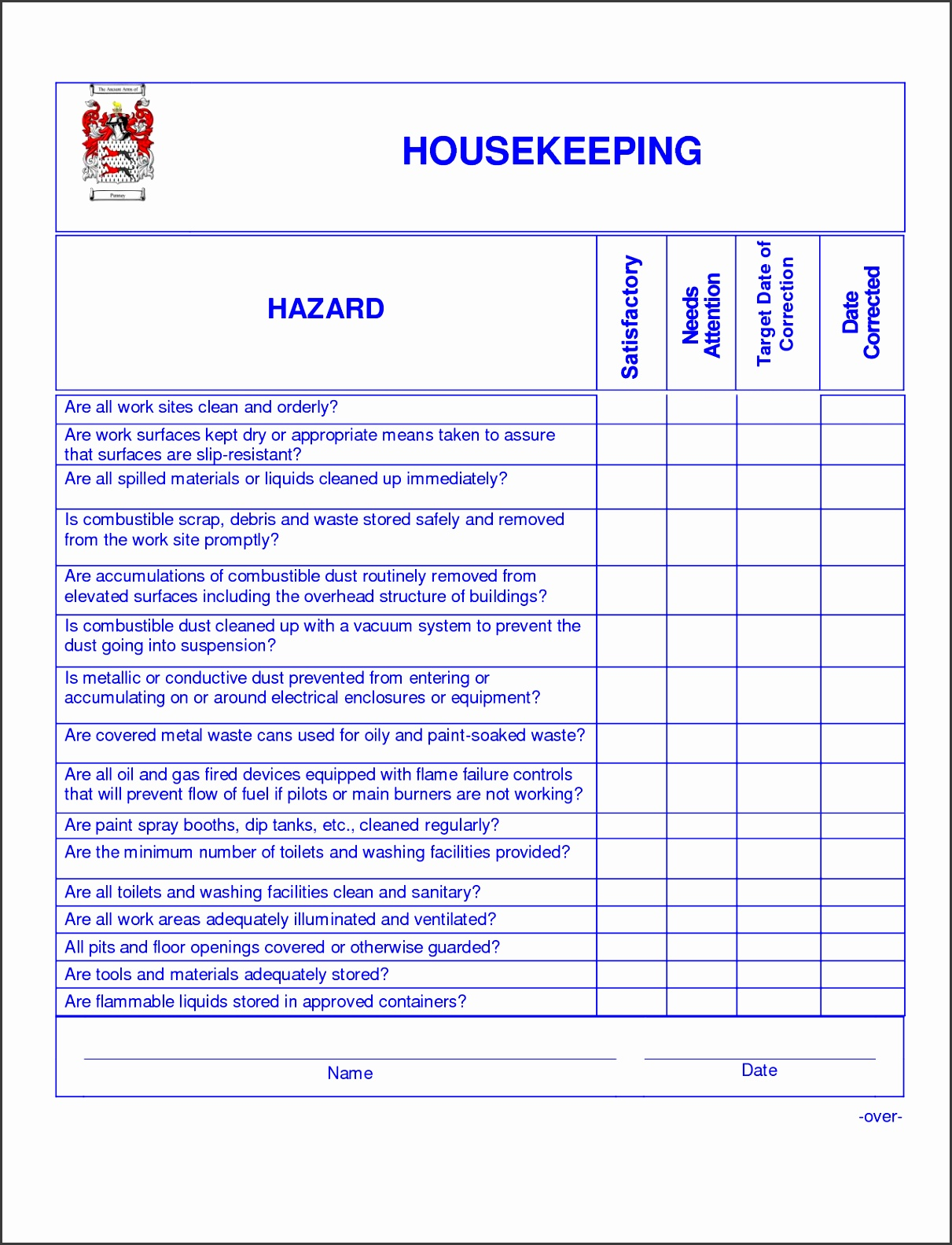 Hospital Housekeeping Cleaning Checklist