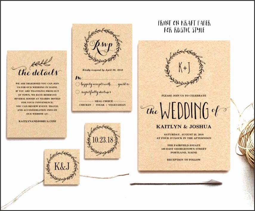 Classic Wreath Printable Wedding Invitation Template Rustic Wedding Invitation Kraft Wedding Invitations 3 Colors Included Editable Text