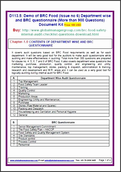 BRC food safety standards issue 6 requirement wise audit sample audit plan template