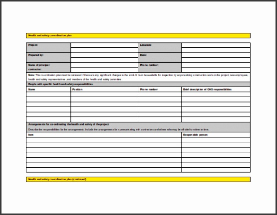 Health and Safety Co ordination Plan Word Format Free Download