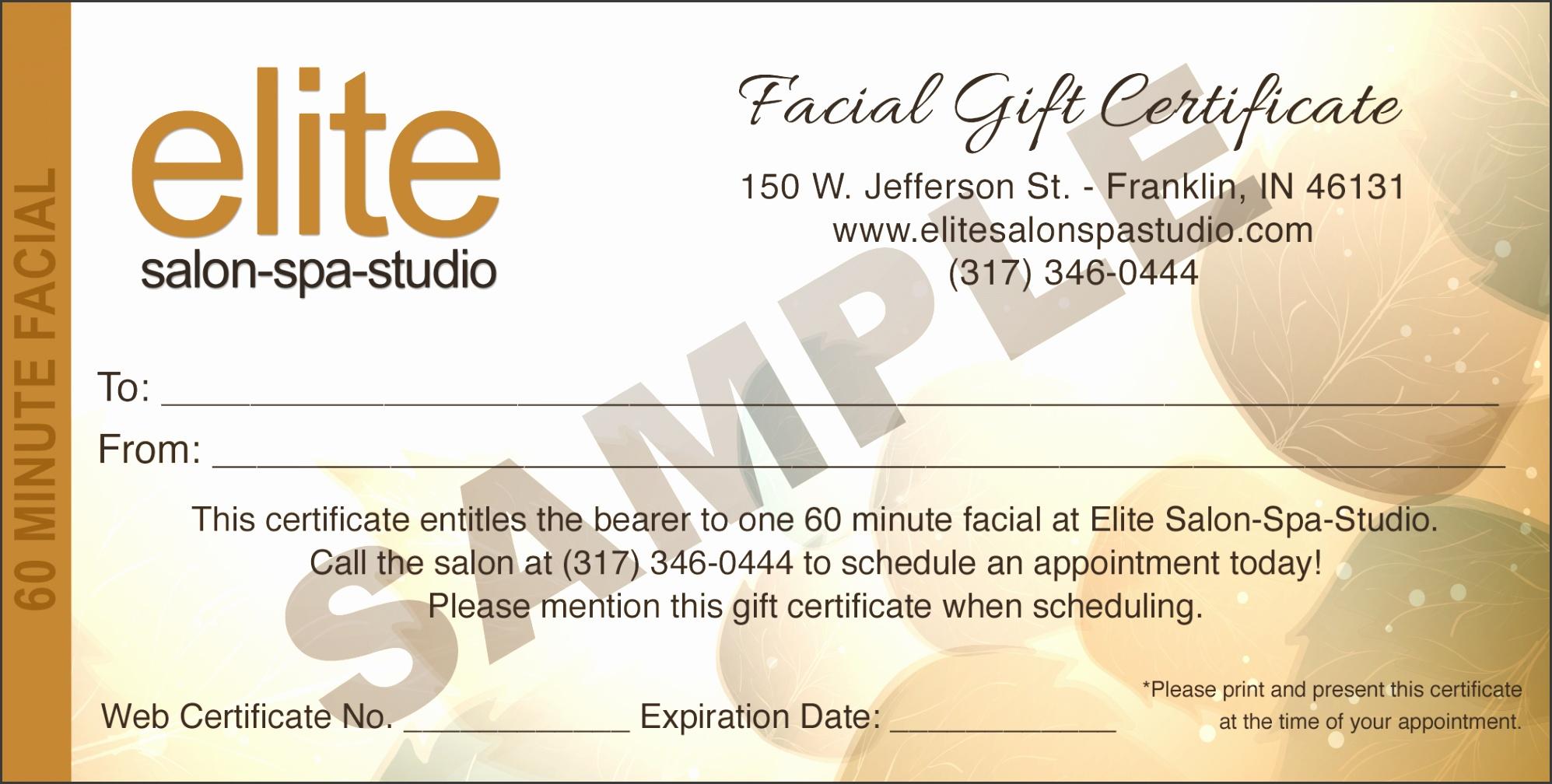 Facial Gift Certificate Sample