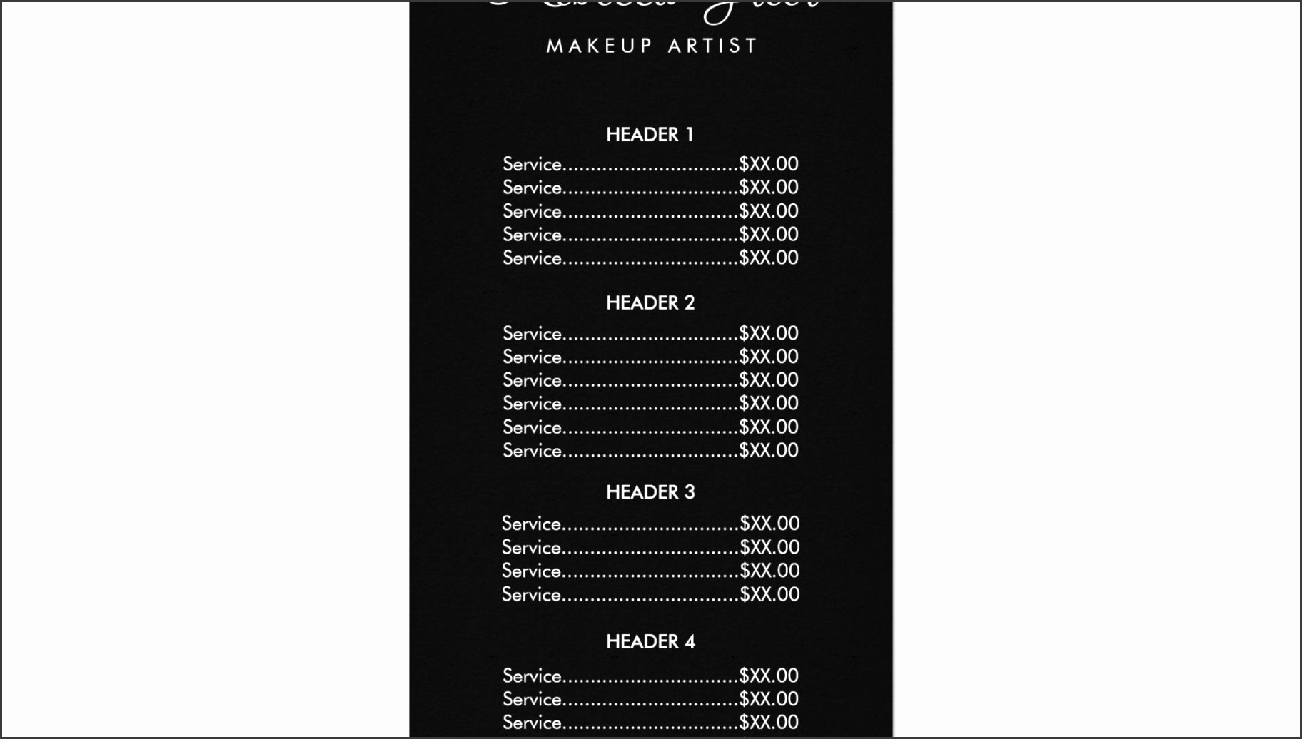 price menu templates