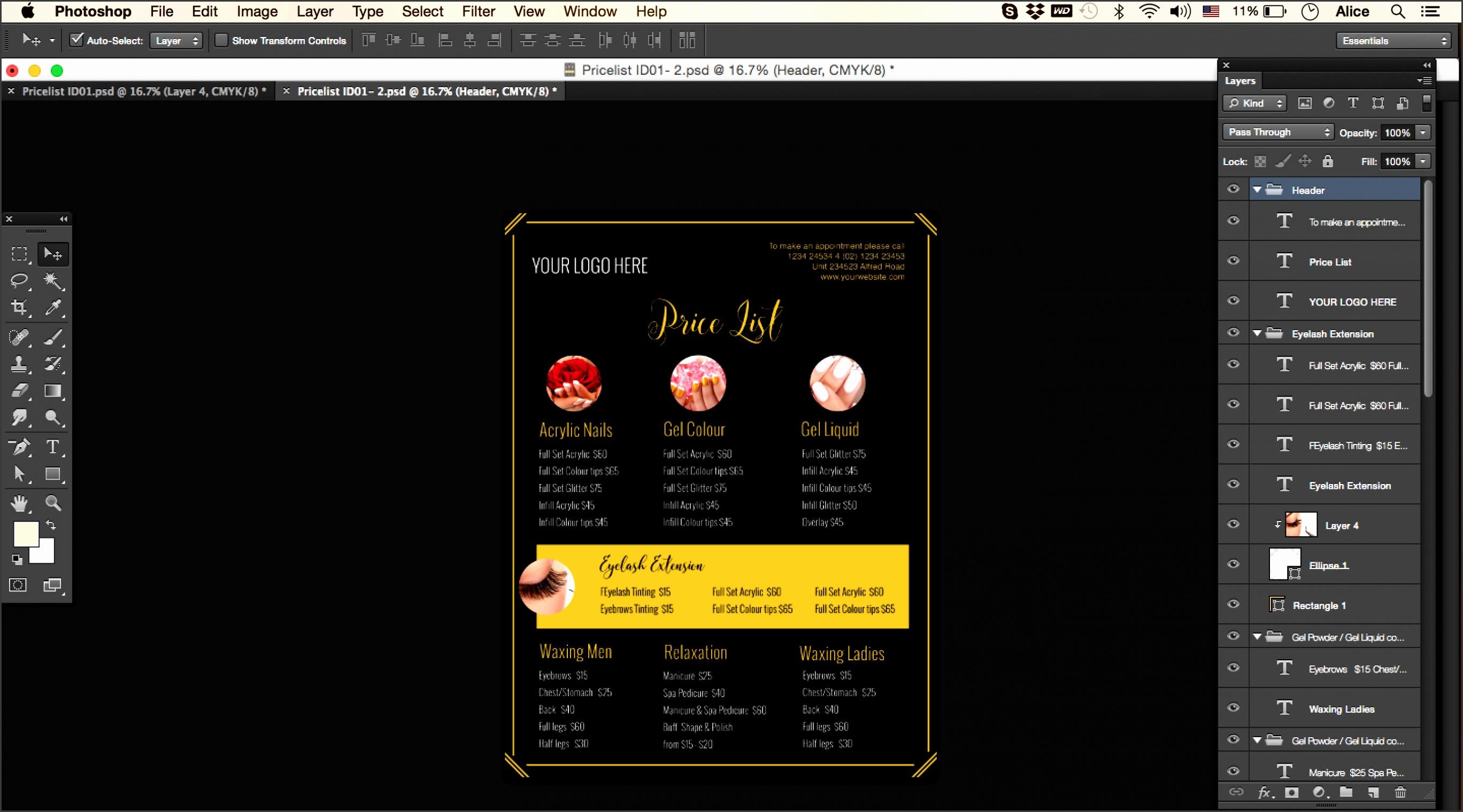Make up Artist Price Menu Salon Menu pricing list template