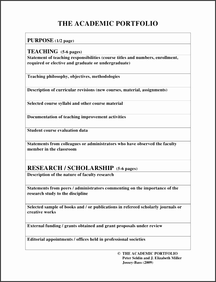 THE ACADEMIC PORTFOLIO PURPOSE 1 2 page TEACHING 5 6 pages Selected sample