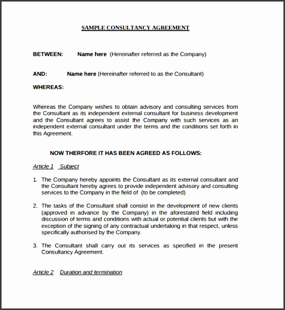 Consultancy Agreement Contract