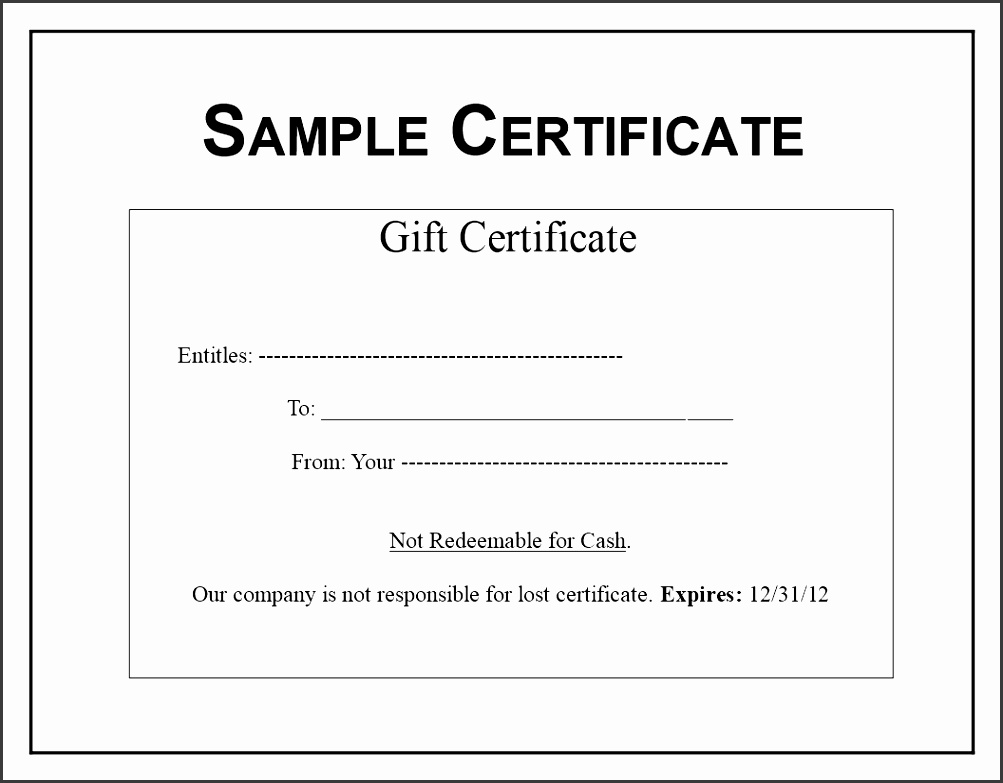 Gift Certificate sample main image