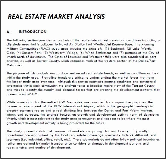 Sample Real Estate Market Analysis 7 Examples Format