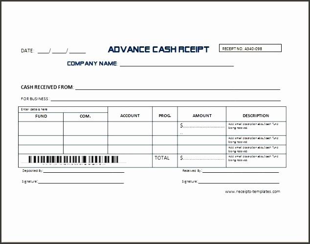 Sample Advance Receipt Template