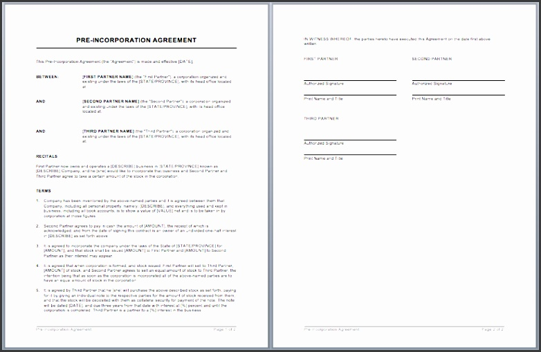 partnership agreement template word