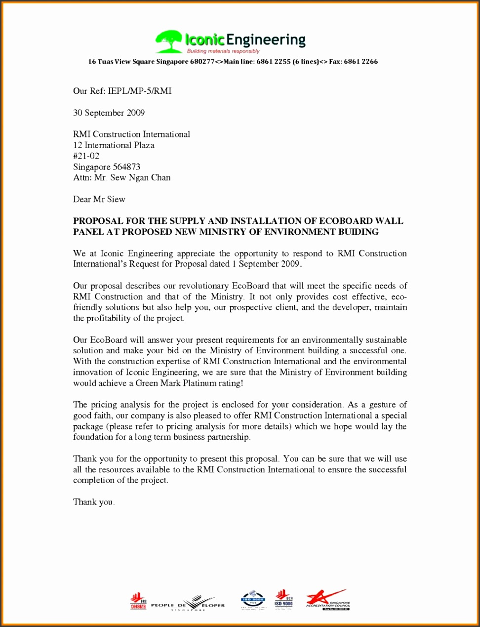 Format Proposal Proposal Letter Template Letters For Business