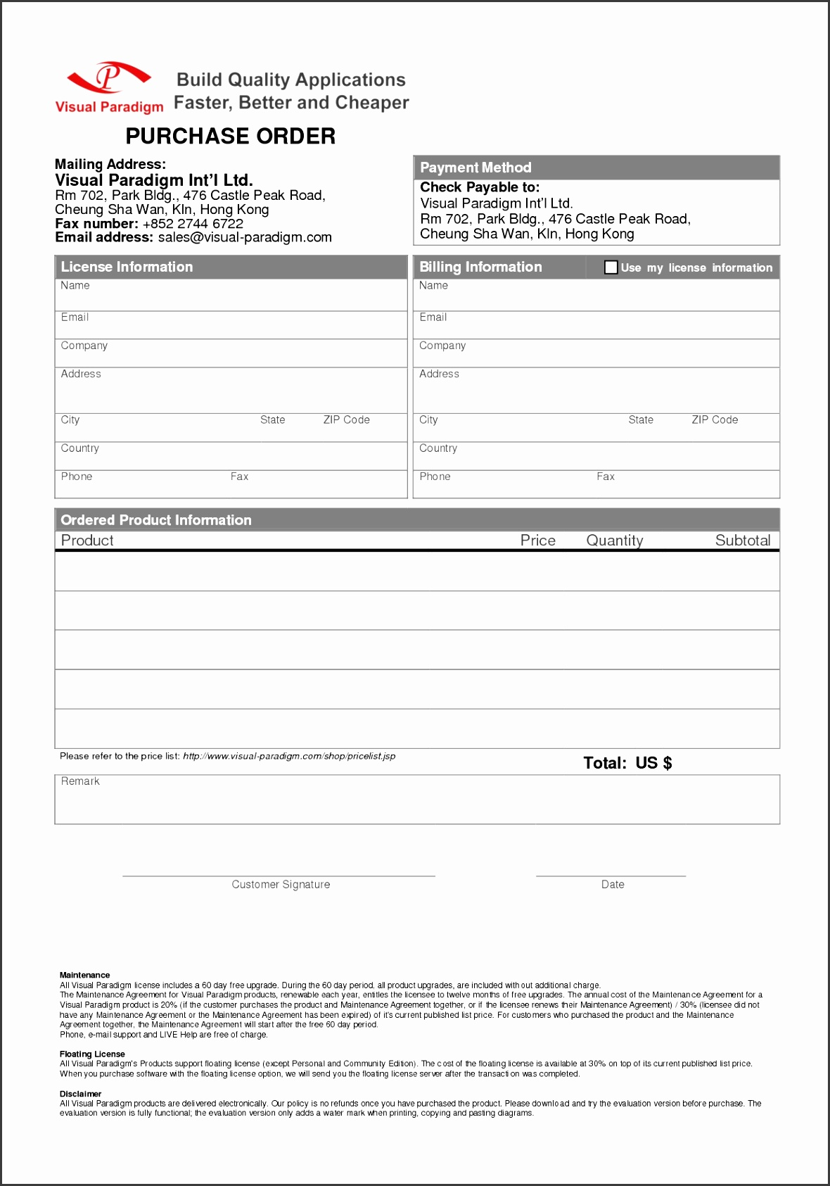 Best Ideas 5 order form Template Word In Purchase order Letter Template