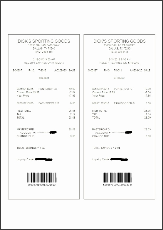 Format of Electronic Receipt