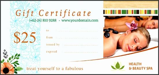 Sample SPA Gift Certificate
