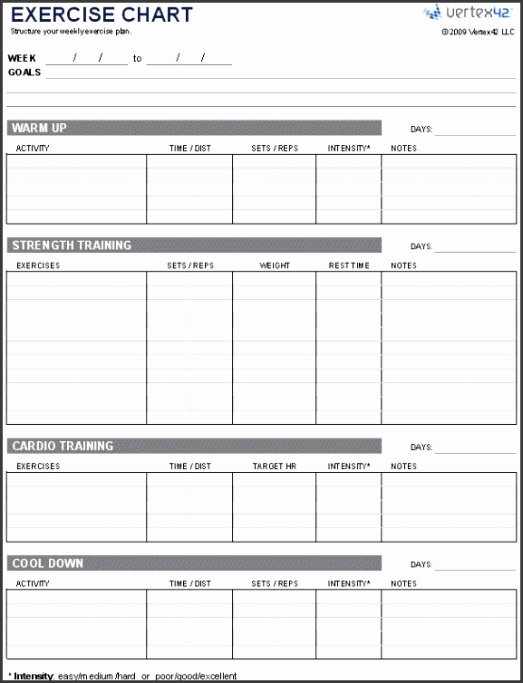 Free Exercise Chart – Printable Exercise Chart Template with Weekly Workout Schedule Template
