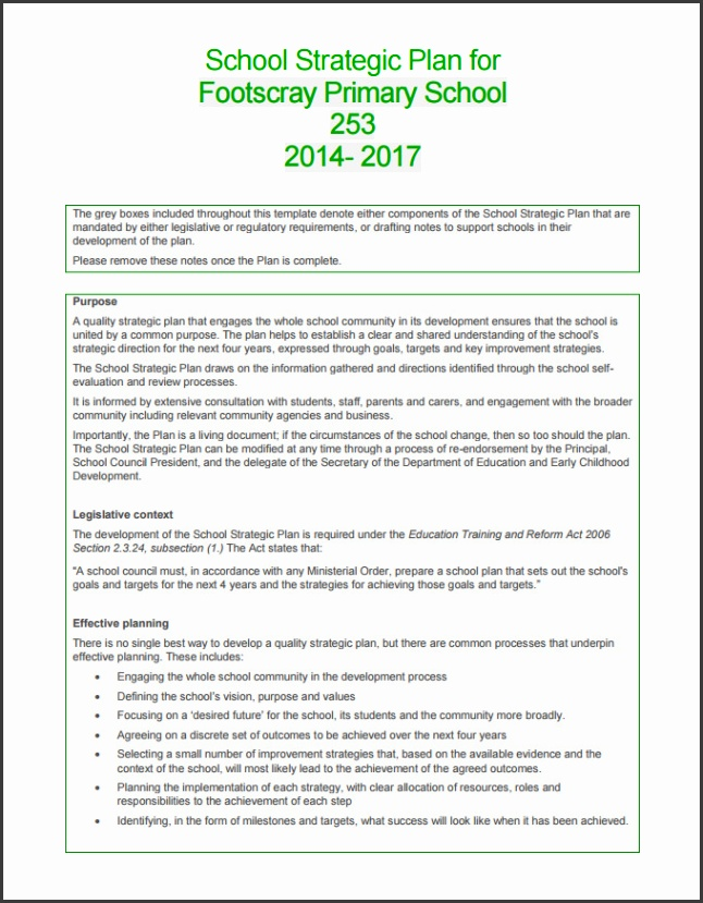 Primary School Strategy Plan Template PDF
