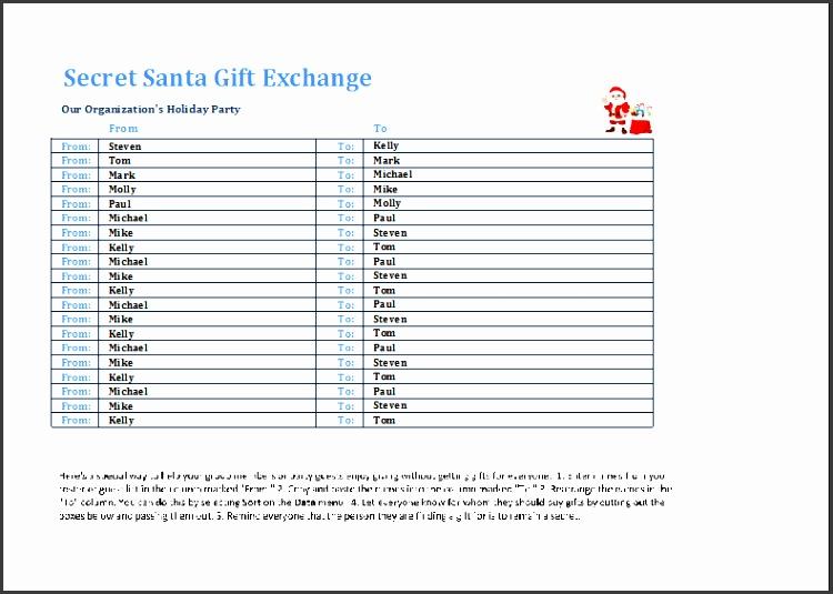 secret Santa t exchange list template