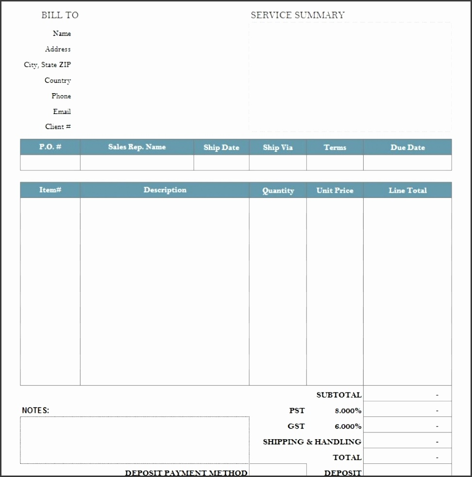 Basic Service Bill Sample With Deposit within Fillable Invoice Template Pdf