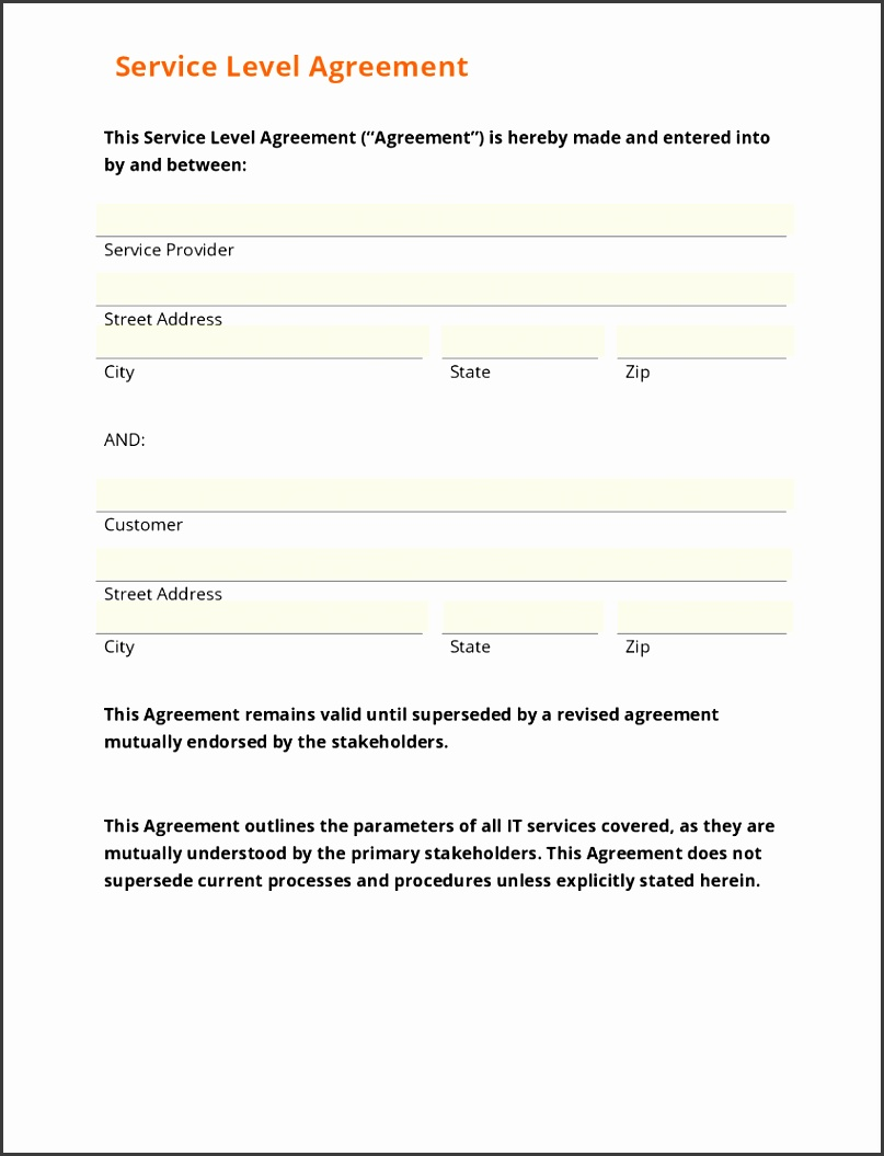 5 Service Level Agreement Template For Training Providers