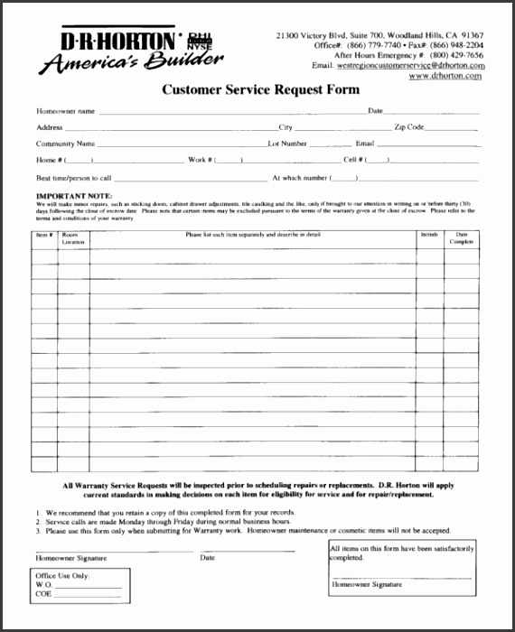 Dr Horton Customer Service Request Form