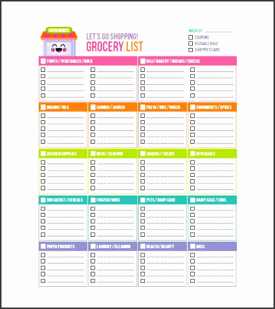 Printable Grocery List Template Imagine Printable Grocery List Template Insanity Snapshoot Dreamy 8 Sample Example Format