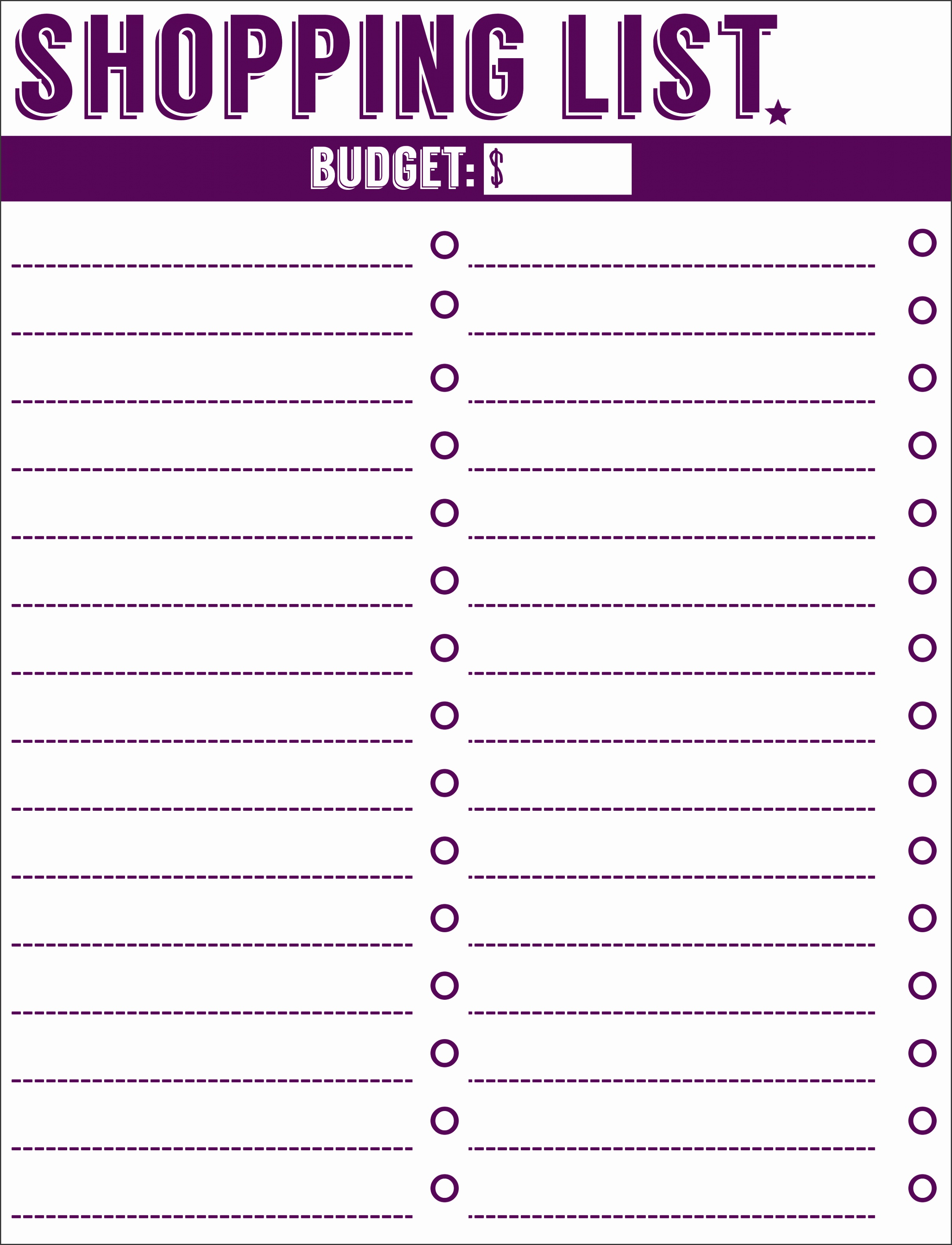 Template 8 Best Free Printable Shopping List Free Printable Collection solutions Free Printable Shopping