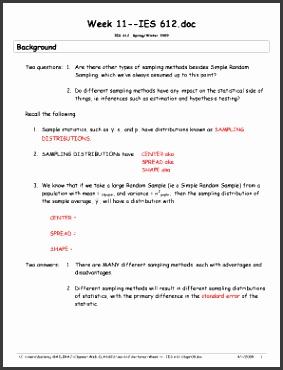 Sampling Notes excerpted from Piegorsch Bailer 2005 Ch