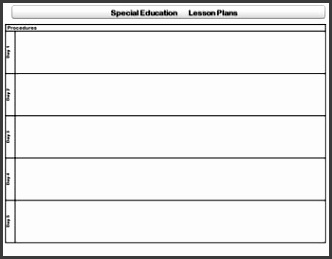 Special Education Standards Based Lesson Plan Templates