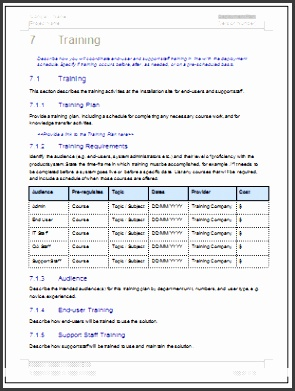 Deployment Plan Schedule Template