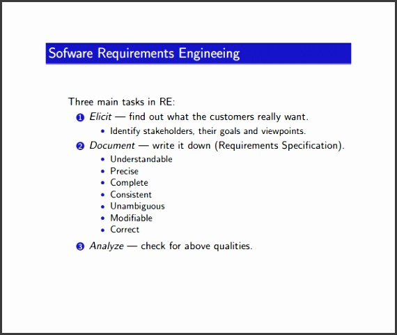 Software Requirement Analysis Template