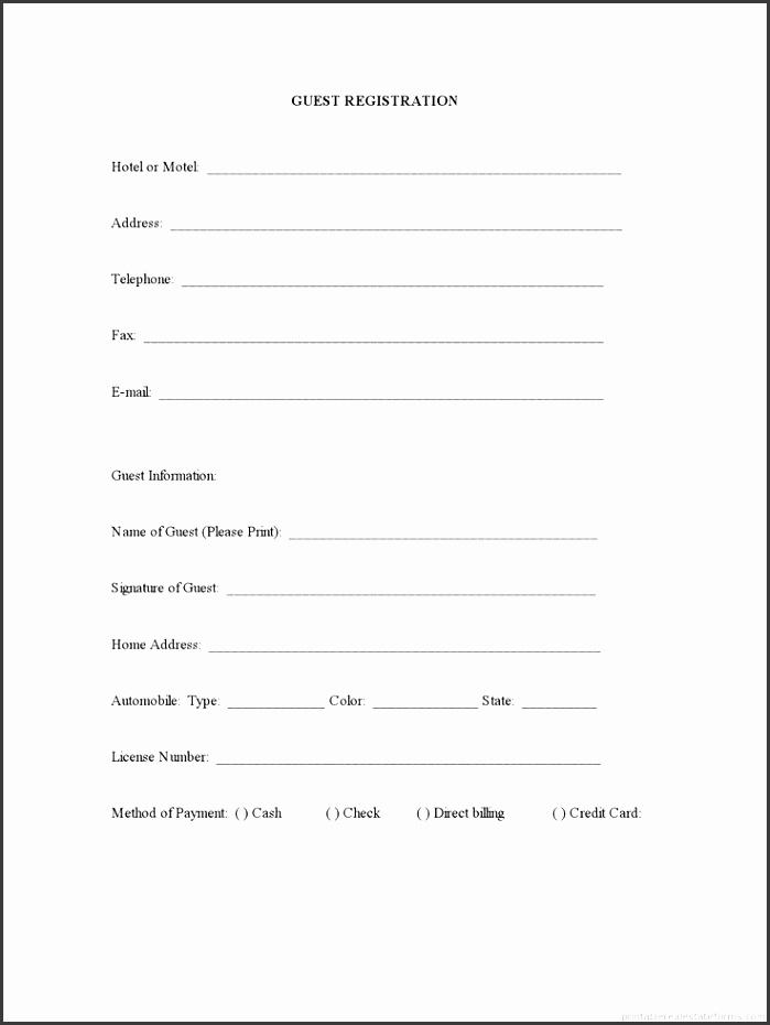 Guest Registration Form Open House Guest Information Forms Guest Information Card Template